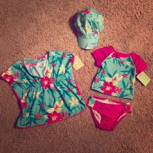 9 Month Floral Swimsuit Set with matching hat